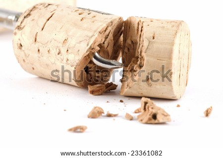 A cheap, low quality cork isolated on white