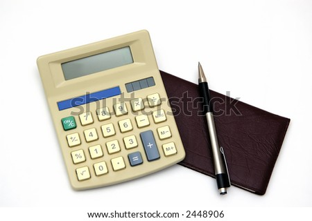 A check book and Calculator with a pen, isolated against a white background - stock photo