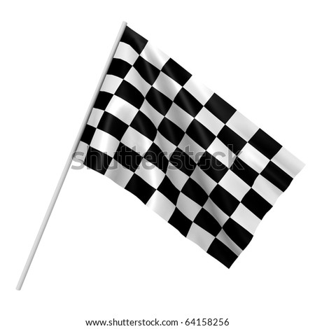 A checkered race flag - a 3d image - stock photo