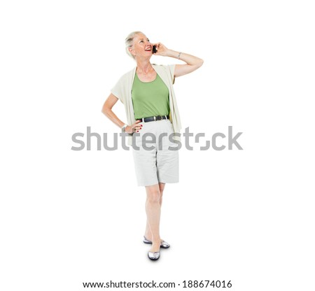 A Cheerful Casual Woman on the Phone - stock photo