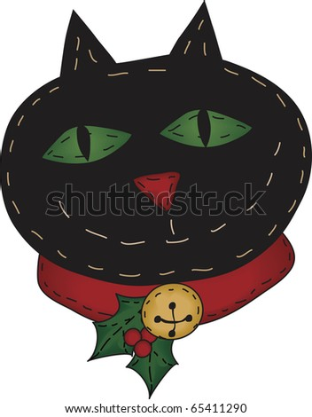 a cheerful Christmas cat - stock photo