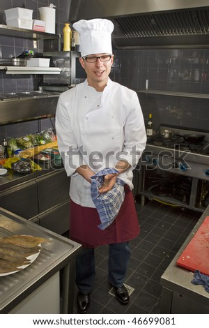 A chef and his sous-chef working in a kitchen - stock photo
