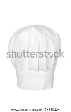 A chef's hat isolated on white.  Chefs wear the hat as a symbol of status and for cleanliness and sanitary reasons.