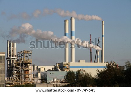 A chemical factory with exhaust pipes in Rotterdam, Holland
