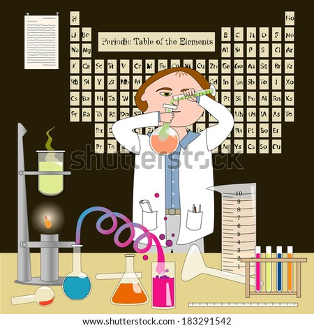 A chemist working in his lab. The Periodic Table of the Elements (artist rendering) is on the wall./The Chemist - stock photo