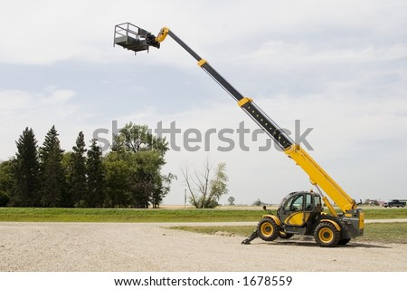 A cherry picker, also known as a construction lift.