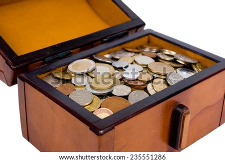 A chest full of metal coins - stock photo