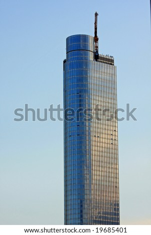 A Chicago Highrise Nearing Completion, Trump International Hotel and Tower - stock photo