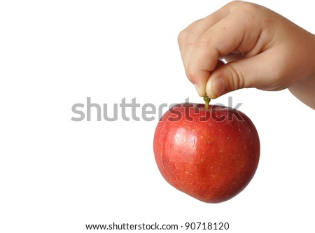 A child holds a large red apple fruit stem, in isolation - stock photo