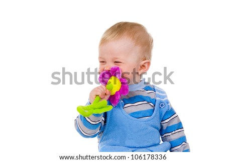 a child playing with a toy isolated on white background