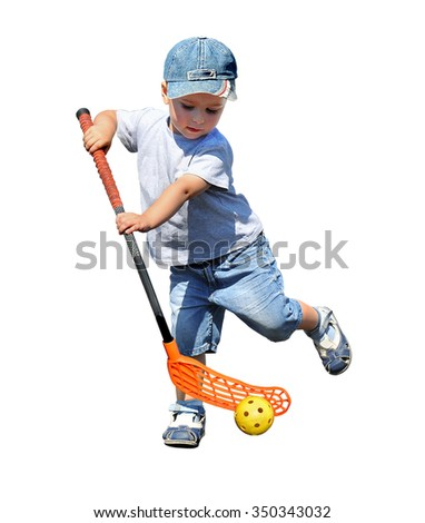 A child plays floorball.Stick and ball games in floorball.The isolated image on a white background