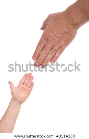 A child reaching for his fathers hand for help and support.