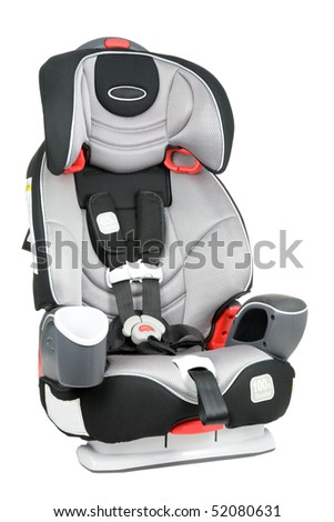 A child's car seat isolated on a white background. - stock photo