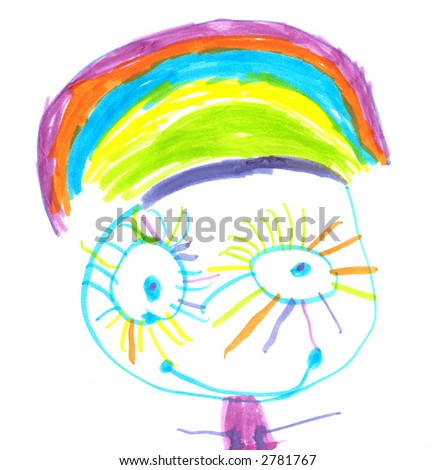 a child's drawing of a happy girl with rainbow eyes and hair, or is that a hat?