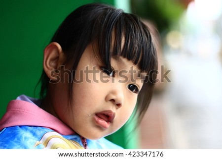 A child's eyes Asian love. Portrait of a cute Asian child girl and looking aside in-Thailand. - stock photo