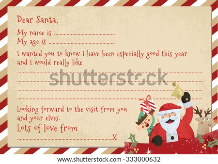 A 5 childs letter santa space personalise stock illustration a5 childs letter to santa with space to personalise spiritdancerdesigns Images