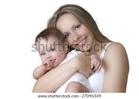 a child with his mother - stock photo