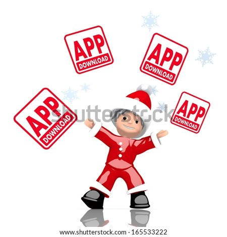 a childish Santa Claus boy rendered character juggles four app download sign isolated on white background with snowflakes