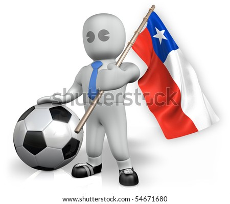 A Chile football fan with a ball and a flag - stock photo