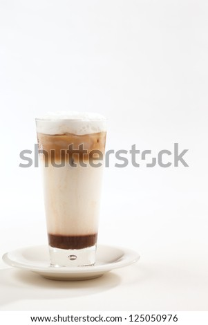A chilled or iced coffee is a cool summer non alcoholic drink - stock photo