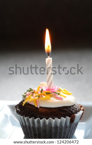 A Chocolate Birthday Cupcake With A Light Candle Frosting And Sprinkles - stock photo