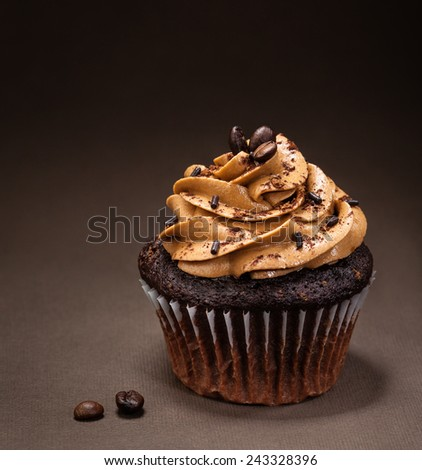 A chocolate cup cake with  mocha icing and sprinkles