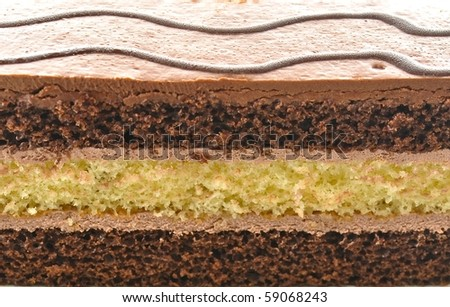 A chocolate fudge layer cake background - stock photo