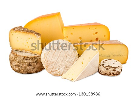 a choice of different cheese - stock photo