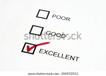 A choice of excellence is given to the three options available. - stock photo