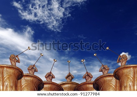 A chorus of trumpeter musician blowing their trumpet into the air to greet a new year celebration, against a blue sky with clouds. - stock photo