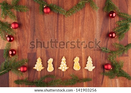 a christmas background with cookies and christmas decorations