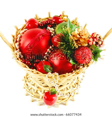 a christmas basket on white - stock photo