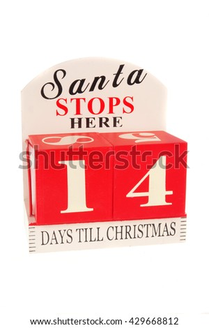 A christmas countdown ornament isolated on a white background 14 Days to Christmas - stock photo