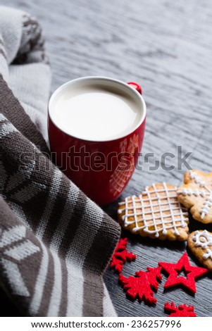 A christmas cozy atmospheric still with a red cup of coffee, gingerbread, blanket and red winter symbols - stock photo
