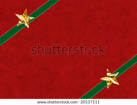 A Christmas gift illustration on a textured red background. Stars and ribbons have a clipping path for easy background replacement.