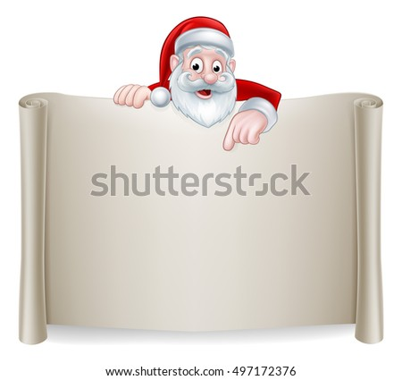 A Christmas illustration of a cute Cartoon Santa Pointing at a scroll sign
