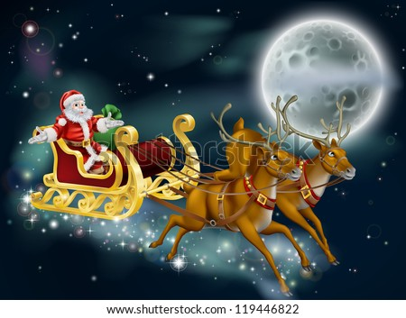 A Christmas illustration of Santa delivering gifts on Christmas Eve night with the moon in the background - stock photo