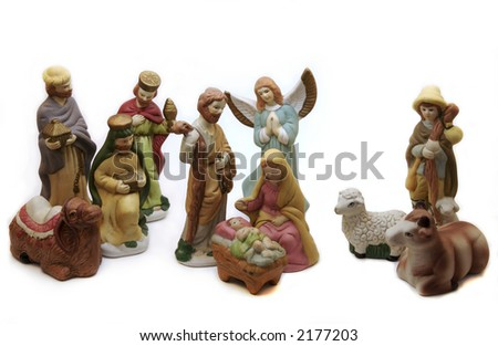 A Christmas Nativity Scene made of hand painted porcelain. - stock photo