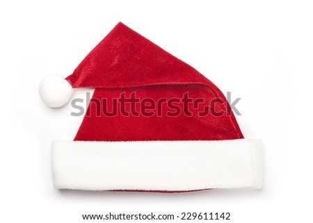 A christmas red hat for gift isolated white, top view at the studio. - stock photo