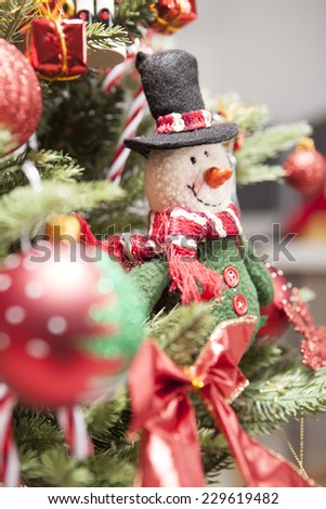 A christmas snowman doll with ornaments(decorations)