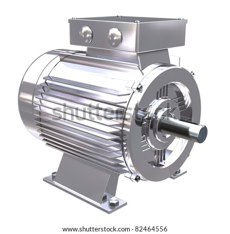 A chrome or stainless steel electric motor on white background - stock photo