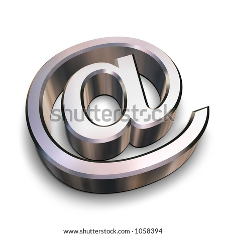 A chrome-plated AT symbol isolated on a white background (3D rendering) - stock photo