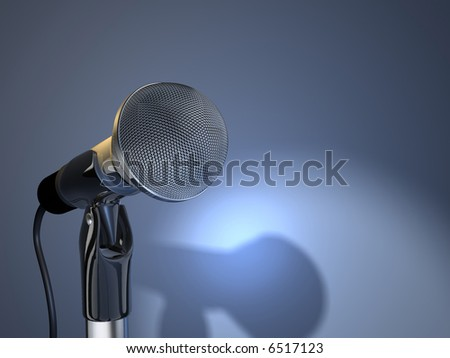 A chromed microphone on blue background - 3d render