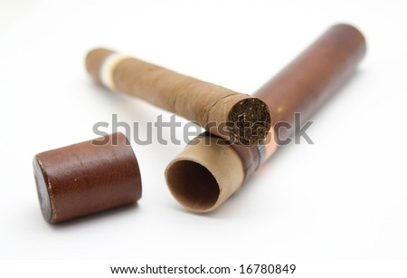 A Cigar isolated on white background - stock photo