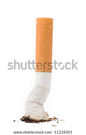 a cigarette butt on white background - stock photo