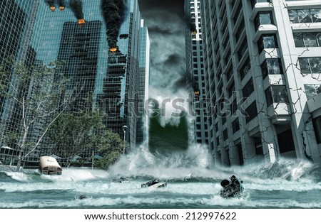 A cinematic portrayal of a city destroyed by Tsunami waves. Elements in this cityscape were carefully created, modified and manipulated to resemble a fictitious disaster scene. - stock photo