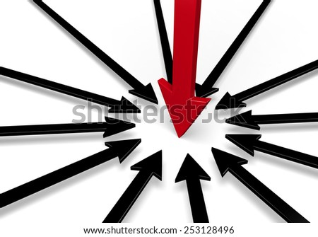 A circle of black arrows surround a larger, red arrow, all pointing to the same spot.  Isolated on white. - stock photo
