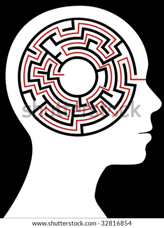 A circular maze puzzle as a mind inside a person's profile  head. - stock photo