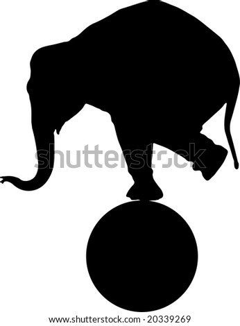 A circus elephant on a sphere - stock photo