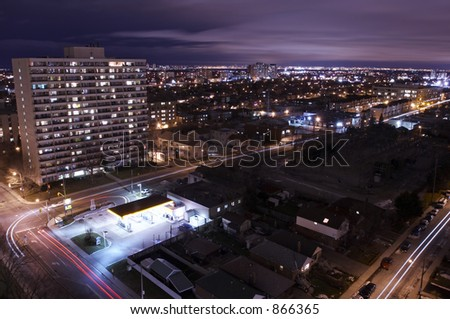 A city at night from above. - stock photo